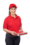 Pizza delivery woman Royalty Free Stock Photo