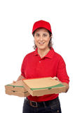 Pizza delivery woman Stock Images