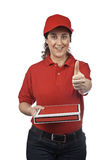 Pizza delivery woman Royalty Free Stock Image
