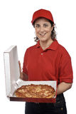 Pizza delivery woman Royalty Free Stock Photography