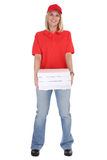 Pizza delivery woman order delivering job young full body isolat Royalty Free Stock Photography