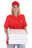 Pizza delivery woman order delivering job young isolated Royalty Free Stock Photos
