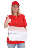 Pizza delivery woman order delivering thumbs up job young isolat Royalty Free Stock Photos