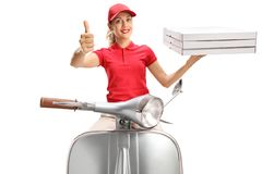 Pizza delivery woman on a scooter giving thumbs up stock photography