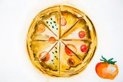 Pizza deliziosa dell'acquerello dell'illustrazione Fotografie Stock Libere da Diritti