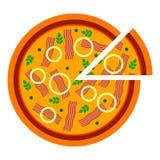Pizza deliziosa rotonda con bacon nello stile piano vector l'illustrazione di pizza affettata isolata su fondo bianco Insieme di illustrazione di stock