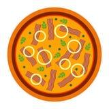 Pizza deliziosa rotonda con bacon nello stile piano vector l'illustrazione di pizza isolata su fondo bianco Insieme di royalty illustrazione gratis