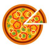 Pizza deliziosa rotonda con pepe nello stile piano vector l'illustrazione di pizza affettata isolata su fondo bianco insieme royalty illustrazione gratis