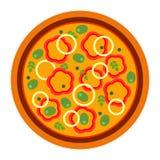 Pizza deliziosa rotonda con pepe nello stile piano vector l'illustrazione di pizza isolata su fondo bianco Insieme di illustrazione di stock