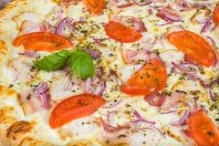 Pizza della carne con bacon, pollo, pomodori, con i rosmarini e le spezie fotografia stock libera da diritti