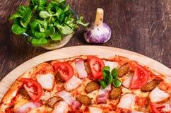 Pizza della carne con i pomodori immagine stock libera da diritti
