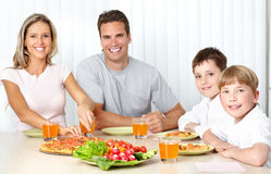 Pizza della famiglia Fotografia Stock Libera da Diritti