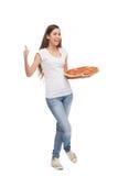 Pizza della holding della donna Fotografie Stock