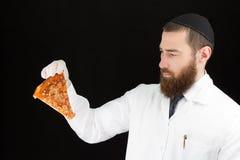 Pizza della tenuta di medico Immagine Stock Libera da Diritti
