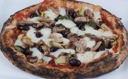 Pizza delle olive e dei funghi dei carciofi infornata legno Fotografie Stock Libere da Diritti