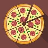 Pizza in der flachen Art Stockfotografie