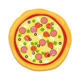 Pizza in der flachen Art auf weißem Hintergrund Ikonenlebensmittelschattenbild Auch im corel abgehobenen Betrag Lizenzfreie Stockbilder