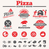 Pizza design elements. Banners, labels, icons Stock Images