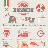 Pizza design elements. Delivery service, online food order Royalty Free Stock Photo