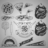 Pizza design elements Royalty Free Stock Images