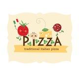 Pizza design. Illustration of ingredients Stock Images