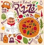 Pizza design menu Stock Photos