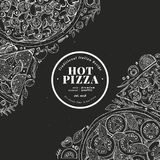 Pizza design template. Hand drawn vector fast food illustration on chalk board. Sketch style vintage Italian pizza. Pizza design template. Hand drawn vector fast vector illustration