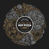 Pizza design template. Hand drawn vector fast food illustration on chalk board. Sketch style vintage Italian pizza. Pizza design template. Hand drawn vector fast royalty free illustration
