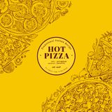 Pizza design template. Hand drawn vector fast food illustration. Sketch style vintage Italian pizza background. Pizza design template. Hand drawn vector fast royalty free illustration