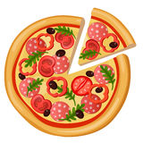 Pizza detailed flat style web icon. Food collection. Stock Image