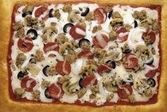 Pizza di formaggio della salsiccia delle merguez di lusso fotografia stock libera da diritti