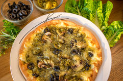 Pizza di Manakish del vegetariano Immagini Stock