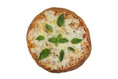 Pizza di Margherita Percorso di ritaglio ed isolato Fotografie Stock Libere da Diritti