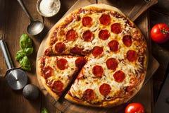 Pizza di merguez casalinga calda Fotografie Stock Libere da Diritti