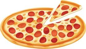 Pizza di merguez con la fetta separata Fotografie Stock