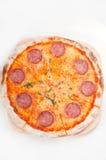 Pizza di merguez sottile originale italiana della crosta Fotografia Stock
