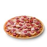 pizza di salsiccia e del prosciutto su fondo bianco Copi lo spazio Ricetta e menu Vista superiore Fotografia Stock Libera da Diritti