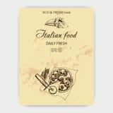 Pizza di schizzo dell'illustrazione di vettore casa italiana del forno Fotografia Stock Libera da Diritti