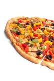 Pizza di verdure affettata Fotografie Stock