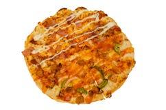Pizza die op witte Achtergrond wordt geïsoleerd? Royalty-vrije Stock Foto