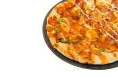 Pizza die op witte Achtergrond wordt geïsoleerd? Royalty-vrije Stock Afbeelding