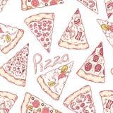 A pizza diferente tirada mão corta o teste padrão sem emenda Fundo da pizaria Fotos de Stock Royalty Free