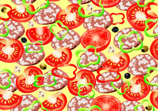 Pizza and different ingredients pattern Stock Images