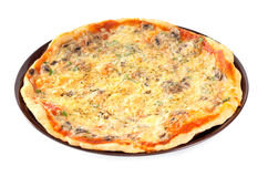 Pizza with different kind of cheeses Stock Photos