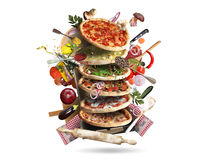 Pizza. With different tastes with vegetables, cooking stock photos