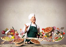 Pizza. With different tastes with vegetables, cooking royalty free stock photo