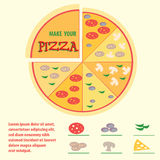 Pizza with different toppings, icons, space for text, infographi Royalty Free Stock Image