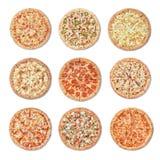 Pizza differente su fondo bianco fotografie stock libere da diritti
