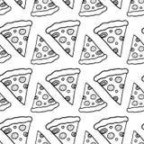 Pizza disegnata a mano dell'inchiostro Fotografia Stock