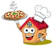 Pizza divertida del cocinero del cocinero del carácter de la historieta feliz de la casa aislada libre illustration